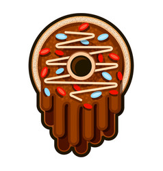 cute chocolate donut on white vector image