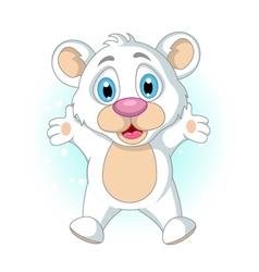 cute little Polar bear cartoon waving vector image