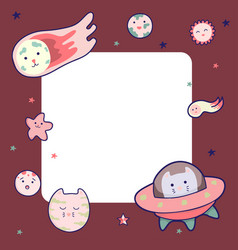 Cute space frame with japanese kawaii cat travels vector