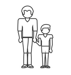 Dad and son style outline vector