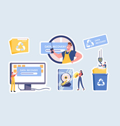 Data recovery service isolated stickers backup vector