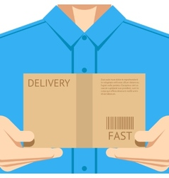 Delivery courier postal man delivering package vector image