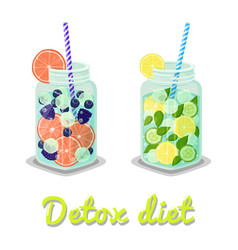 detox diet drinks collection vector image