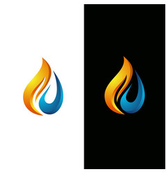 flame and water drop logo template vector image