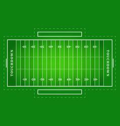 Flat green american football field top view vector