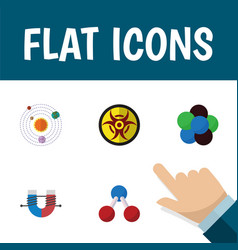 Flat icon knowledge set of danger proton vector