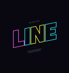 font bold line color neon style vector image