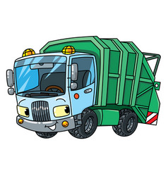 Funny garbage truck car with eyes vector