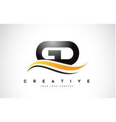 Gd g d swoosh letter logo design with modern vector