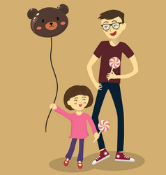 Girl play with dad balloon lollipop vector