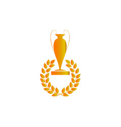 gold cup and laurel award vector image