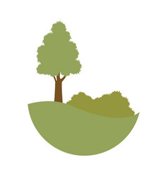 Green tree with bushes natural desin vector