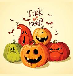 Halloween set of funny pumpkins vector