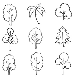 Hand draw tree set on doodles vector