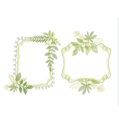 Hand drawn doodle frame with green plant leaves vector