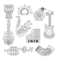 Hand drawn doodle musical instruments set vector
