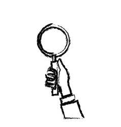 Hand holding loupe search check list sketch vector