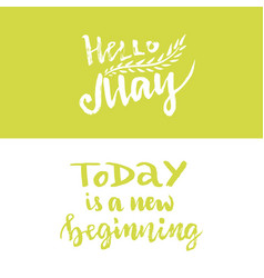 hand lettering hello may today is a new beginning vector image