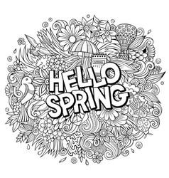 hello spring hand drawn cartoon doodles vector image