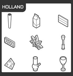 holland outline isometric icons vector image