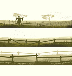 horizontal banner farm fields with fence vector image