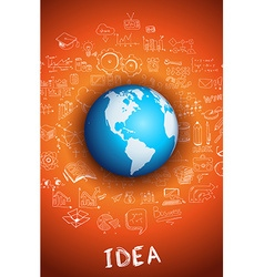 Idea concept with 3D Earth Globe vector