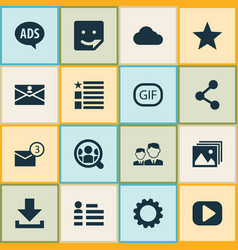 internet icons set with setting letter advert vector image
