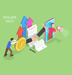 Isometric flat concept affiliate sales vector