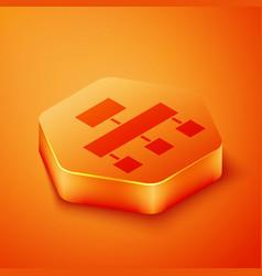 Isometric site map icon isolated on orange vector