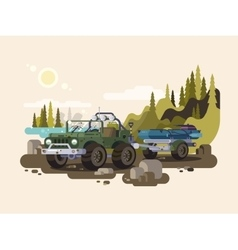 Jeep SUV with boat vector image