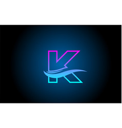 K blue and pink alphabet letter logo icon for vector