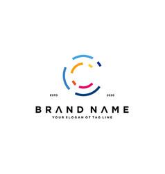 Letter c tech logo design vector