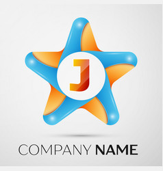 letter j logo symbol in the colorful star on grey vector image