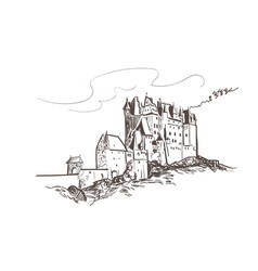 line art isolated eltz castle sketch vector image