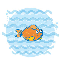 little goldfish swimming under water print vector image