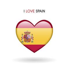 love spain symbol flag heart glossy icon vector image