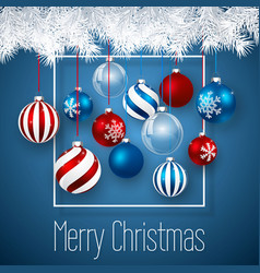 luxury christmas design with blue red christmas vector image