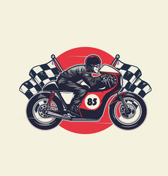 man riding cafe racer in hand drawing style vector image