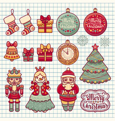 merry christmas wreath with christmas toys vector image