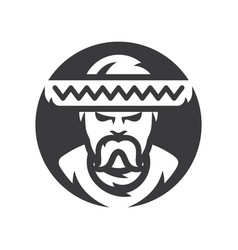 mexican man in sombrero silhouette sign vector image