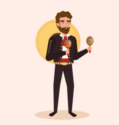 Mexican mariachi with maracas character vector
