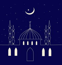 mosque silhouette in night sky and abstract light vector image