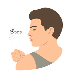 mosquito bites man vector image