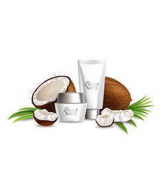 Natural coconut skin care cosmetics vector