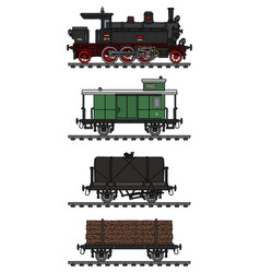 Old freight steam train vector