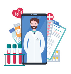 online doctor healthcare consultation via vector image
