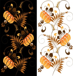 orange ornament on a black and white background vector image