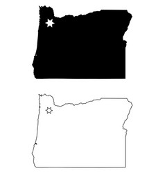 oregon or state map usa with capital city star at vector image