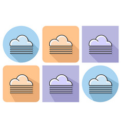 Outlined icon of foggy weather with parallel and vector