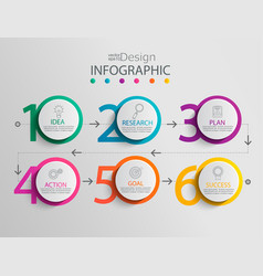 paper infographic template with 6 circle options vector image